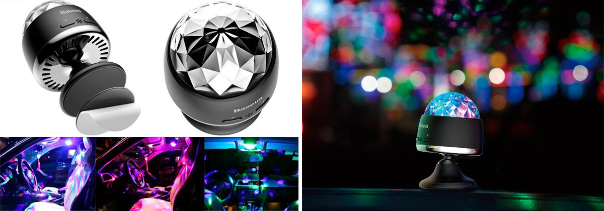 Беспроводной световой музыкальный шар Baseus Car Crystal Magic Ball Light ACMQD-01 Black 2