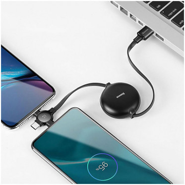 Кабель Baseus Little Octopus 3 в 1 Аdjustable Сable Micro USB + Lightning + USB Type-C 105 см, цвет Черный (CAMLT-AZY01)