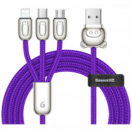 Кабель Baseus 3 в 1 USB Cable of Three Little Pigs Micro-USB + Lightning + Type-C 1.2м, цвет Синий (CAMLT-PG03)